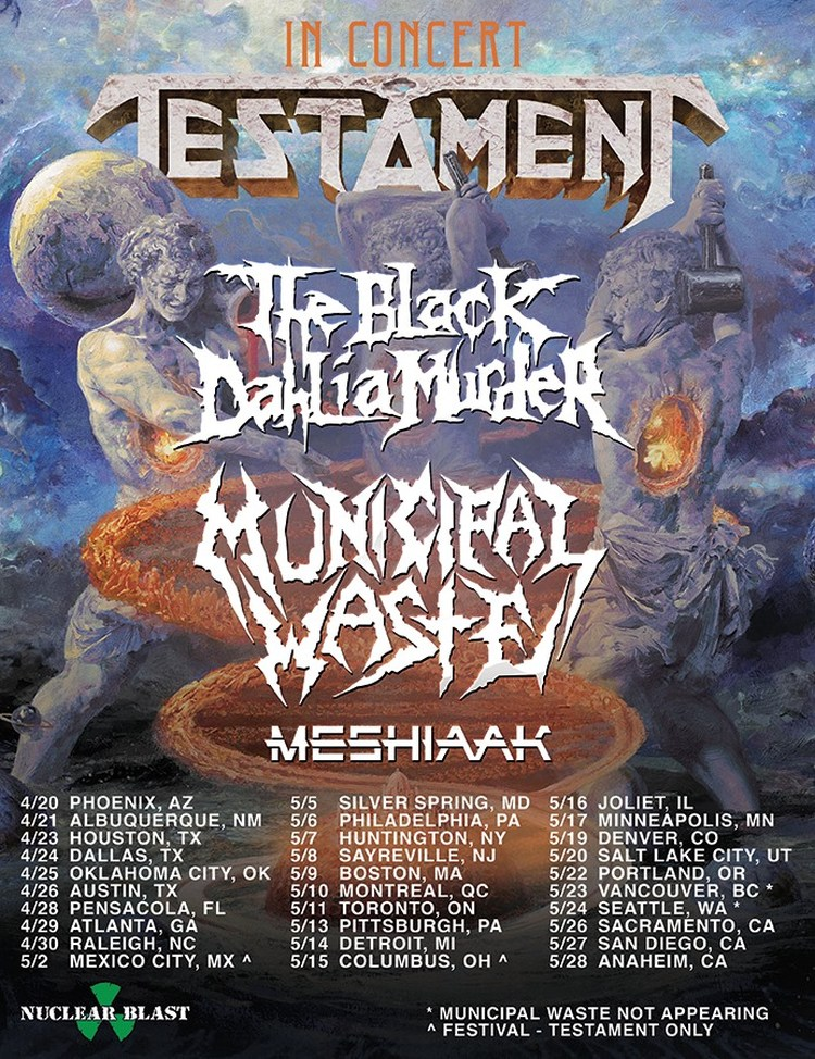 Testament 2020 tour dates